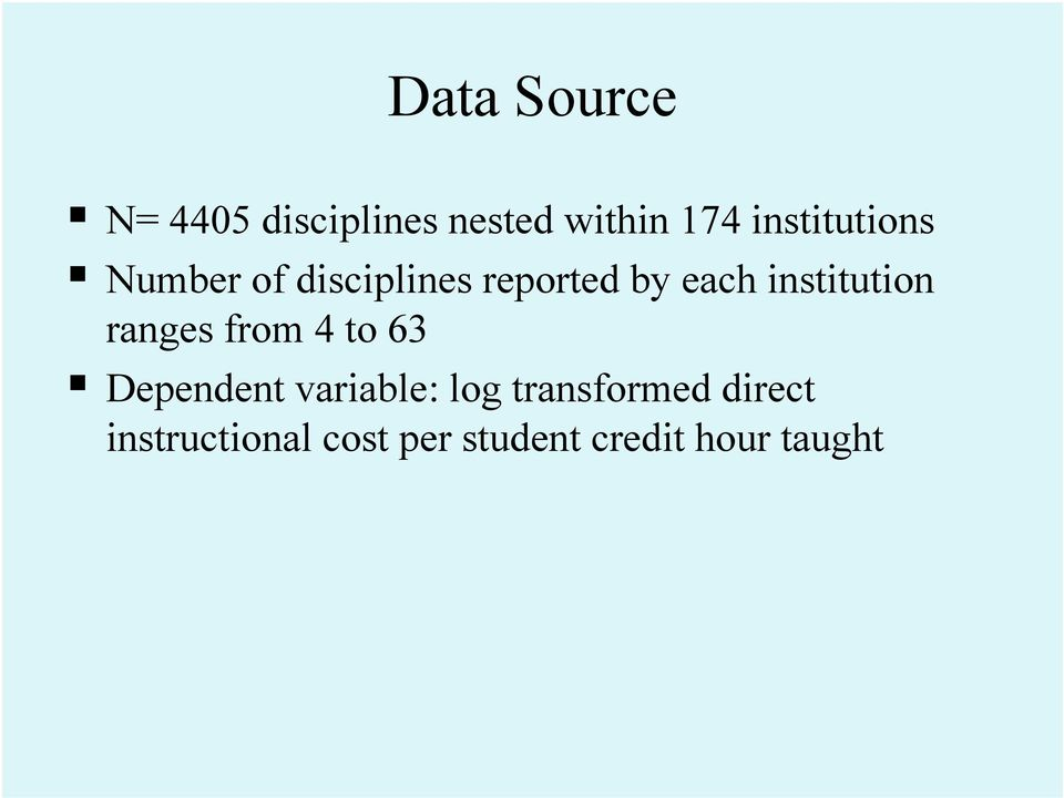 institution ranges from 4 to 63 Dependent variable: log