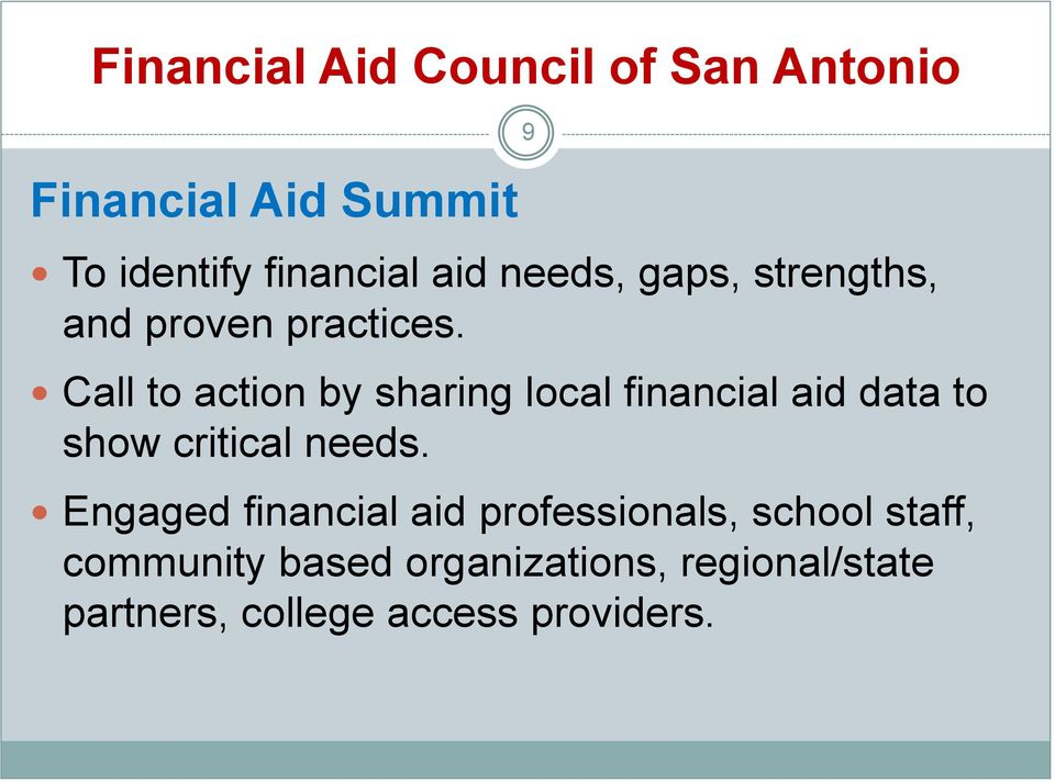 Call to action by sharing local financial aid data to show critical needs.