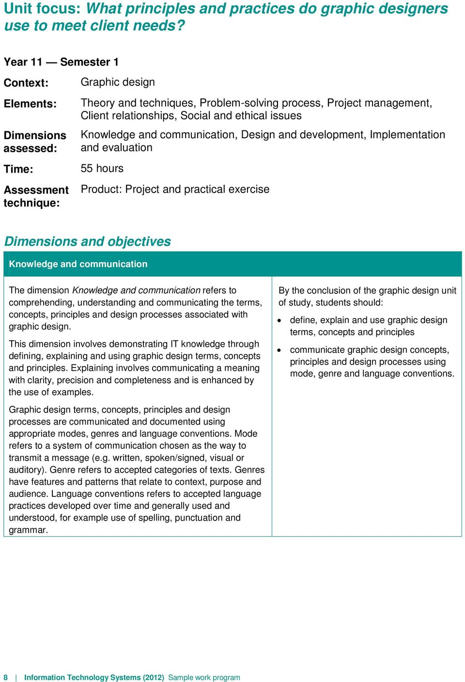 and ethical issues Knowledge and communication, Design and development, Implementation and evaluation 55 hours Product: Project and practical exercise Dimensions and objectives Knowledge and