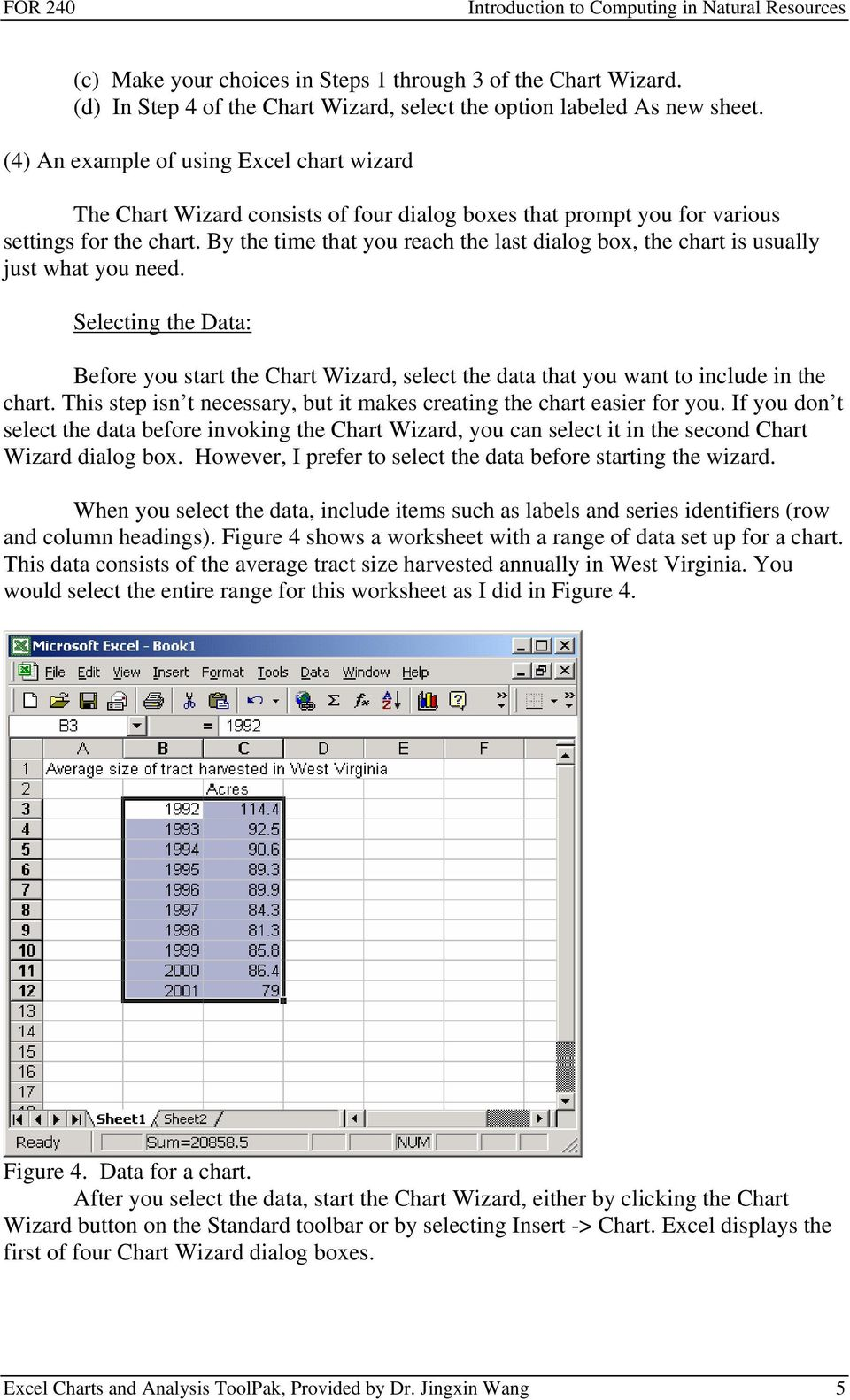 By the time that you reach the last dialog box, the chart is usually just what you need. Selecting the Data: Before you start the Chart Wizard, select the data that you want to include in the chart.
