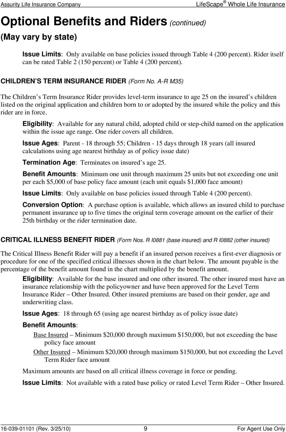A-R M35) The Children s Term Insurance Rider provides level-term insurance to age 25 on the insured s children listed on the original application and children born to or adopted by the insured while