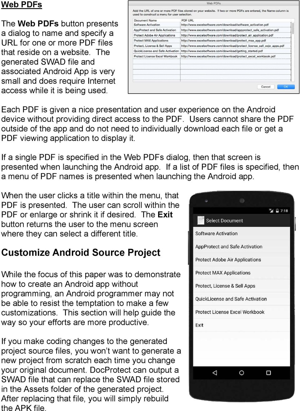 Each PDF is given a nice presentation and user experience on the Android device without providing direct access to the PDF.