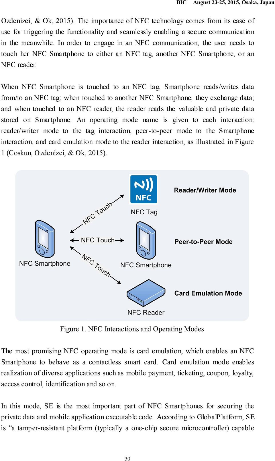 When NFC Smartphone is touched to an NFC tag, S martphone reads/writes data from/to an NFC tag; when touched to another NFC Smartphone, they exchange data; and when touched to an NFC reader, the