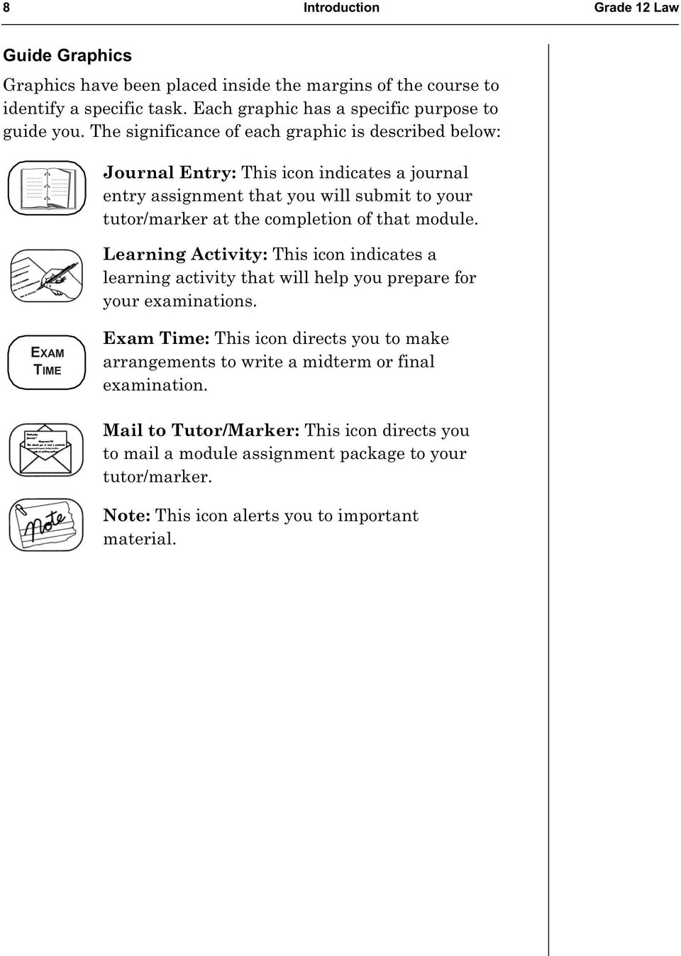 module. Learning Activity: This icon indicates a learning activity that will help you prepare for your examinations.