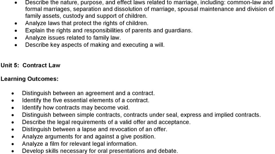 Describe key aspects of making and executing a will. Unit 5: Contract Law Distinguish between an agreement and a contract. Identify the five essential elements of a contract.