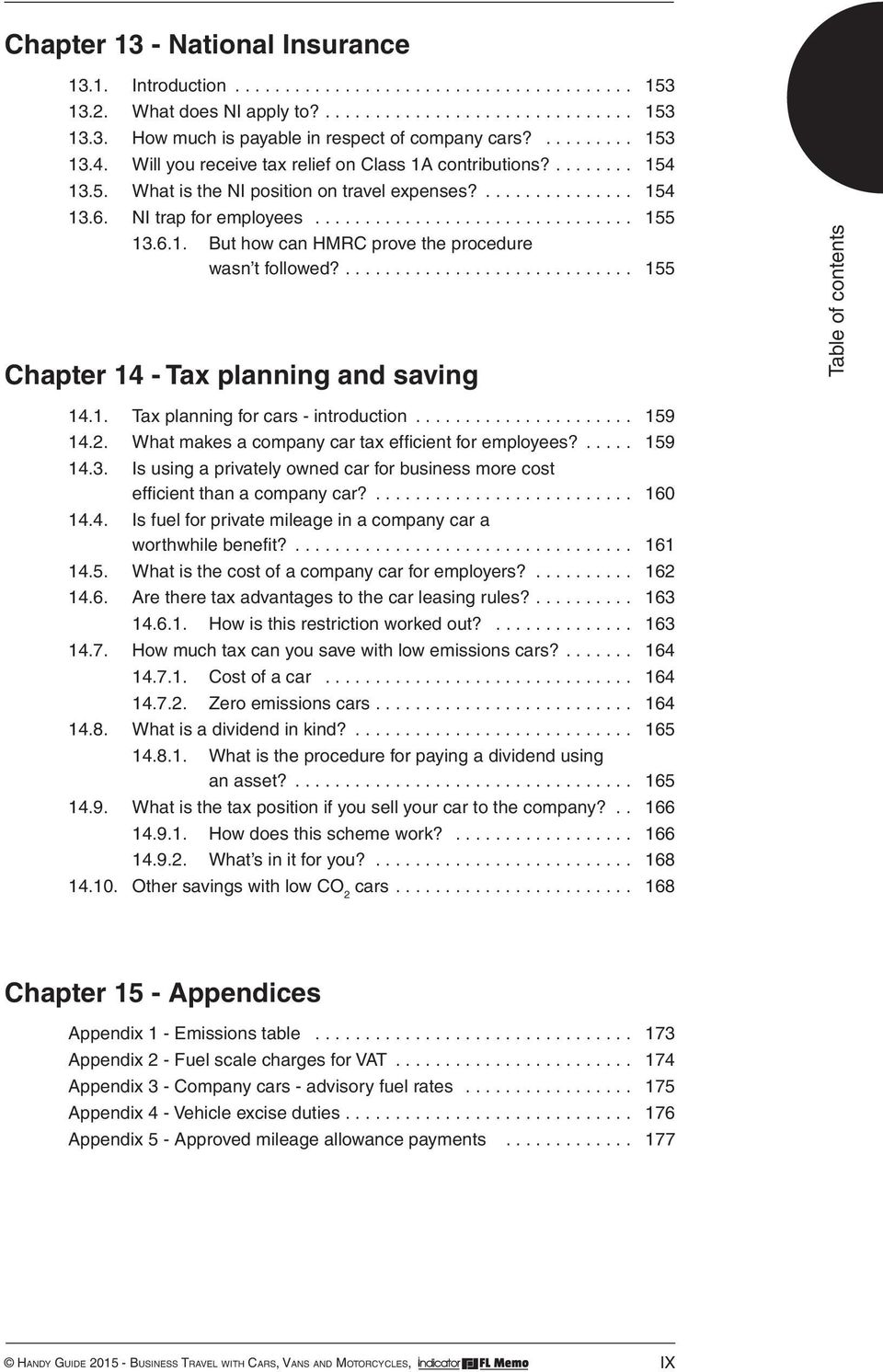 .... 155 Chapter 14 - Tax planning and saving 14.1. Tax planning for cars - introduction... 159 14.2. What makes a company car tax efficient for employees?... 159 14.3.