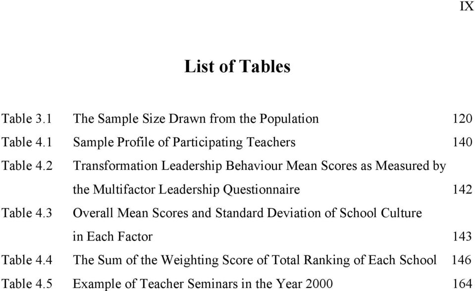 2 Transformation Leadership Behaviour Mean Scores as Measured by the Multifactor Leadership Questionnaire 142 Table 4.
