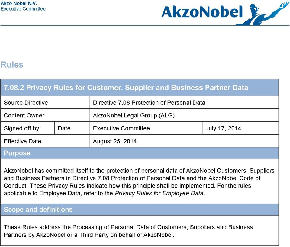 of personal data of AkzoNobel Customers, Suppliers and Business Partners in Directive 7.08 Protection of Personal Data and the AkzoNobel Code of Conduct.