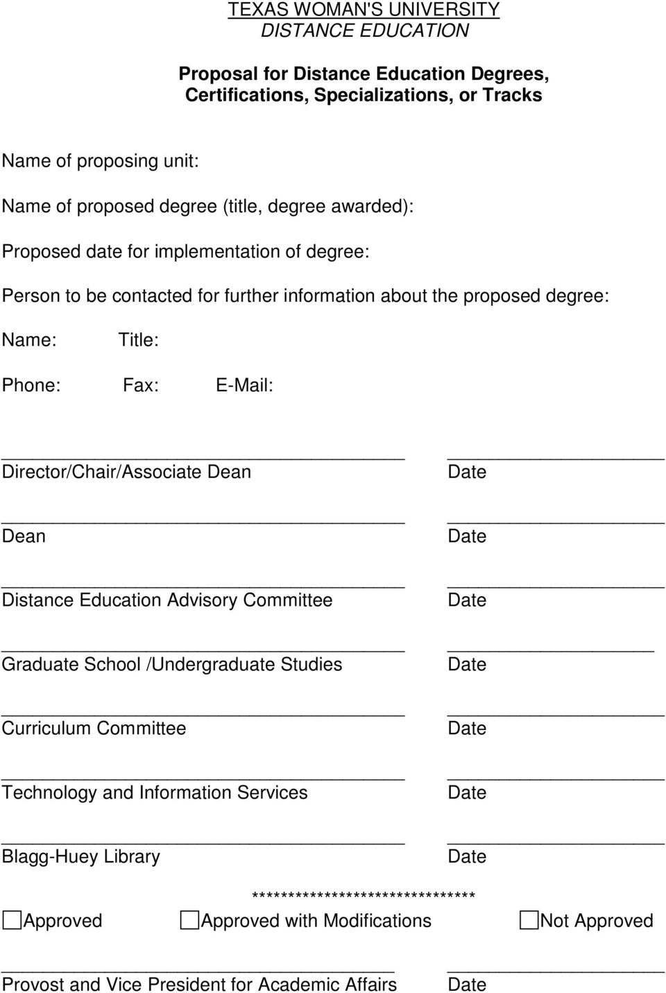 Title: Phone: Fax: E-Mail: Director/Chair/Associate Dean Dean Distance Education Advisory Committee Graduate School /Undergraduate Studies Curriculum Committee