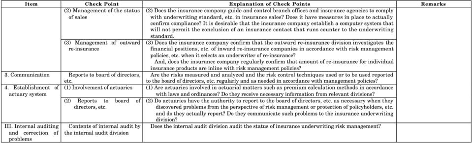 It is desirable that the insurance company establish a computer system that will not permit the conclusion of an insurance contact that runs counter to the underwriting standard.