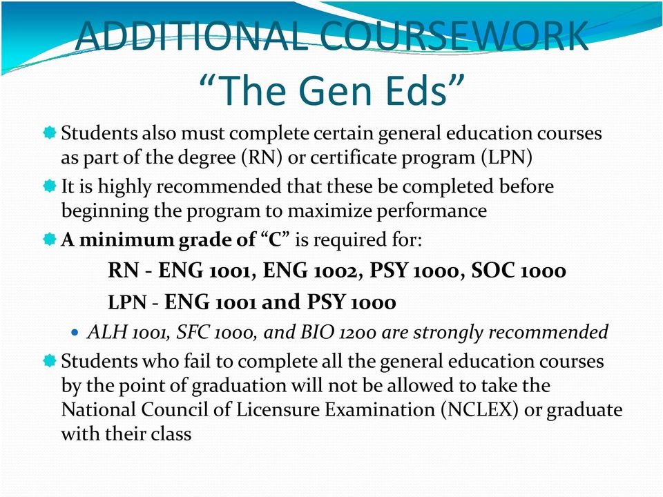 1002, PSY 1000, SOC 1000 LPN ENG 1001 and PSY 1000 ALH 1001, SFC 1000, and BIO 1200 are strongly recommended Students who fail to complete all the general