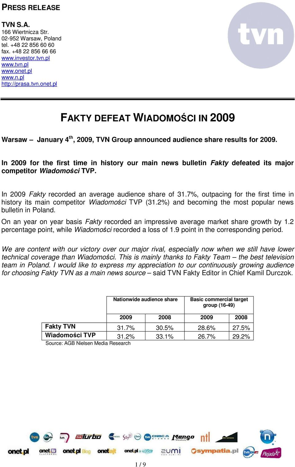 In 2009 for the first time in history our main news bulletin Fakty defeated its major competitor Wiadomości TVP. In 2009 Fakty recorded an average audience share of 31.