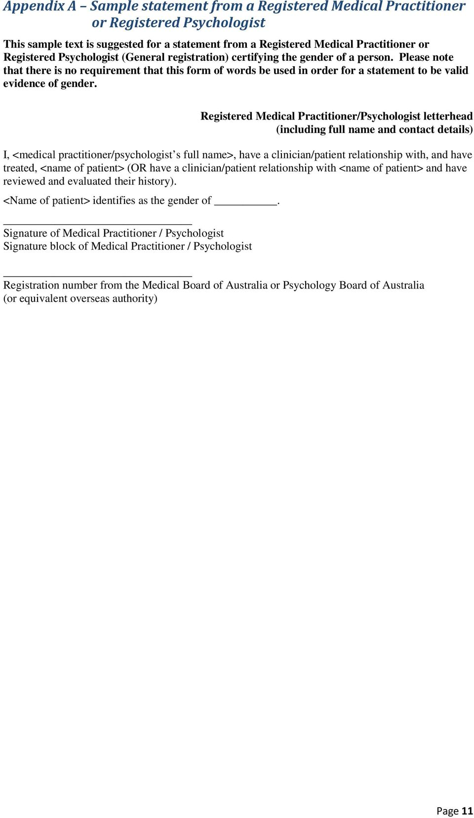 Registered Medical Practitioner/Psychologist letterhead (including full name and contact details) I, <medical practitioner/psychologist s full name>, have a clinician/patient relationship with, and