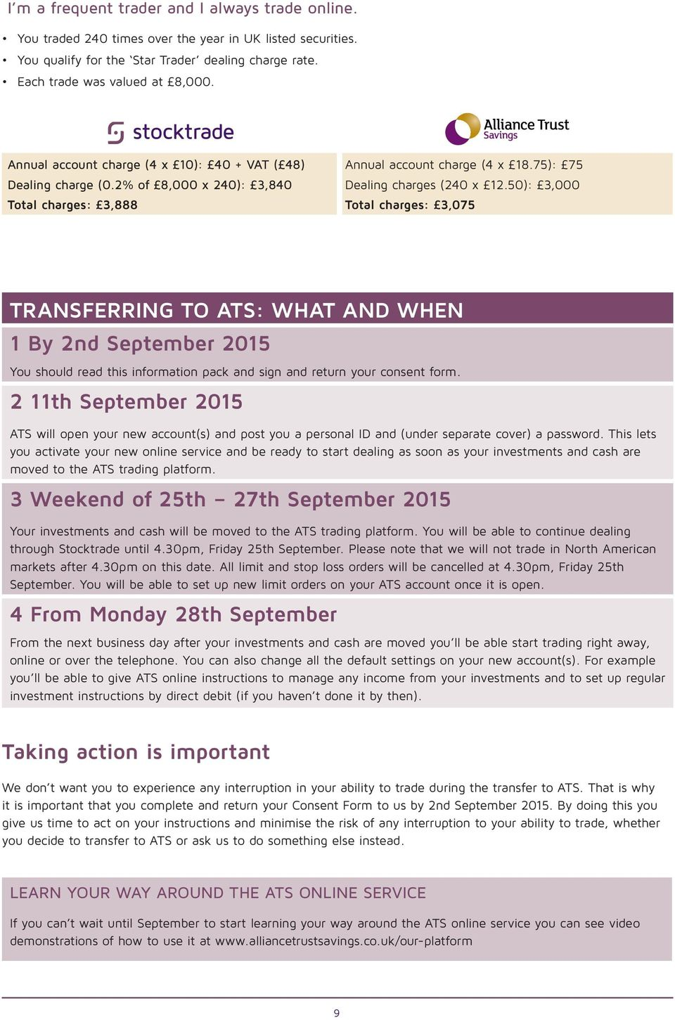 50): 3,000 Total charges: 3,075 TRANSFERRING TO ATS: WHAT AND WHEN 1 By 2nd September 2015 You should read this information pack and sign and return your consent form.