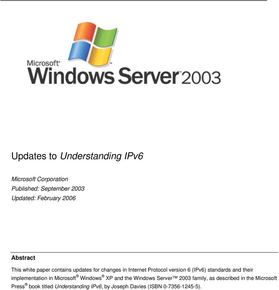 standards and their implementation in Microsoft Windows XP and the Windows Server 2003 family, as