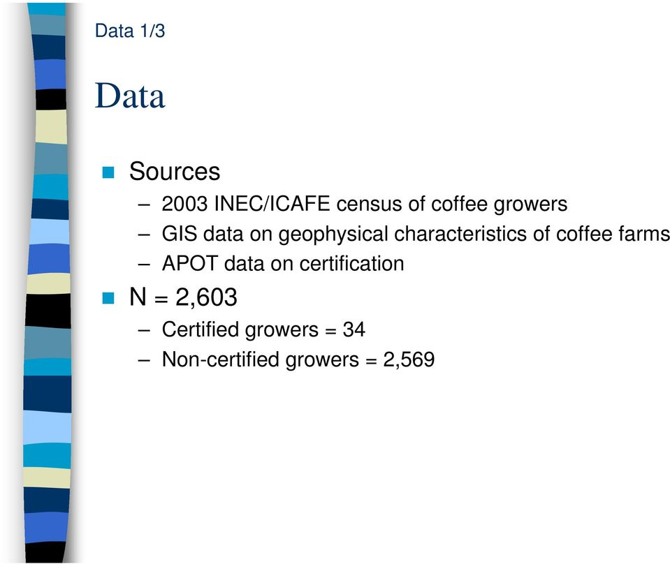 characteristics of coffee farms APOT data on