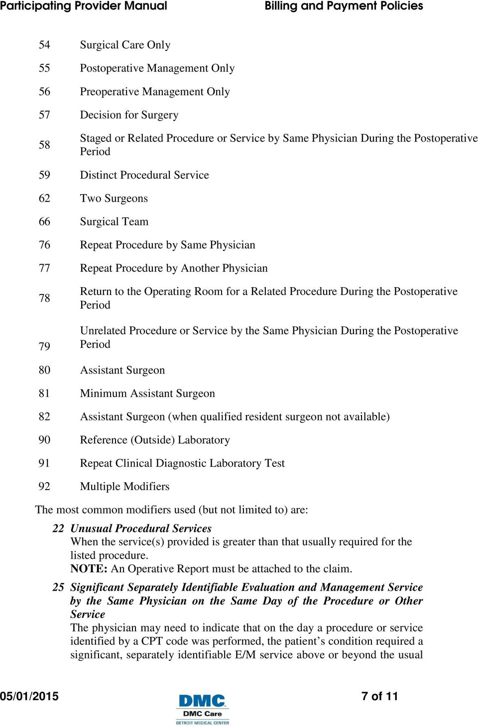 Procedure During the Postoperative Period Unrelated Procedure or Service by the Same Physician During the Postoperative Period 80 Assistant Surgeon 81 Minimum Assistant Surgeon 82 Assistant Surgeon