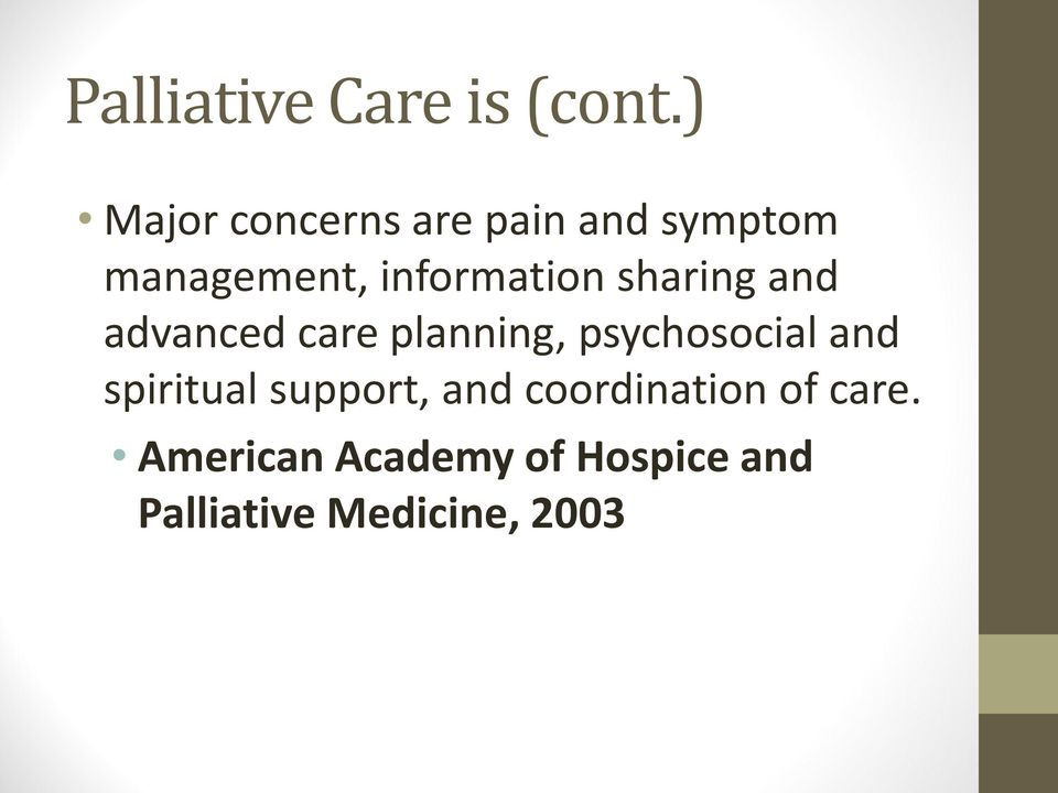 information sharing and advanced care planning, psychosocial