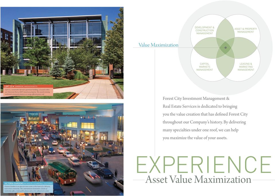 Forest City Investment Management & Real Estate Services is dedicated to bringing you the value creation that has defined Forest City throughout our Company s history.