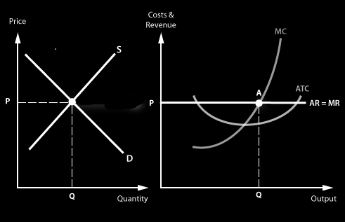 Question 2 a) Draw the equilibrium position of a perfectly competitive industry and the firm in the short run. The industry is shown in the left diagram, the firm is shown on the right diagram.