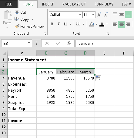 Completing a Series Instead of entering data manually on a worksheet, you can use the Auto Fill feature to fill cells with data that follows a pattern or that is based on data in other cells.