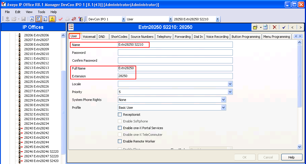 To assign a User to the above created Extension, right click on User seen on the left hand window pane of the IP Office Manager as shown below and select New.