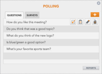 WEB CONFERENCING POLLING AND SURVEYS Polls allow you to get ask a question and get instant feedback from your participants during a meeting.