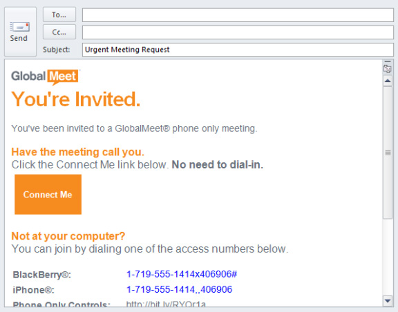 GLOBALMEET TOOLBAR SCHEDULE A MEETING (AUDIO) STEP 1. On the Outlook Toolbar, click Schedule Meeting and select whether you want to Meet Right Now or Meet Later.