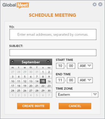 GLOBALMEET FOR DESKTOP SCHEDULE A MEETING You can schedule a meeting and have GlobalMeet send an email invitation. Just pick the date and time of your meeting and your guests email addresses.