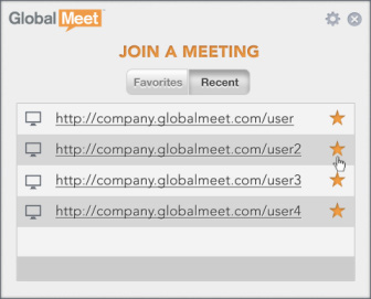 GLOBALMEET FOR DESKTOP JOIN A MEETING On the main window, click JOIN A MEETING to view the meetings that you recently attended.