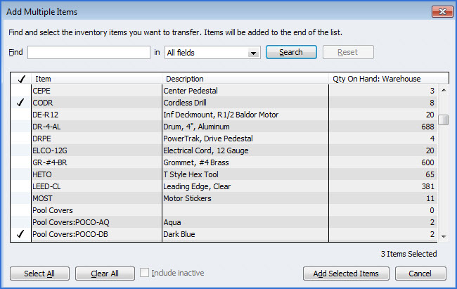 Step 6: To select multiple items to transfer at one time, click on