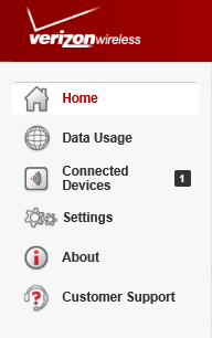 Menu Panel The Menu Panel is the primary navigation for LTE Internet and