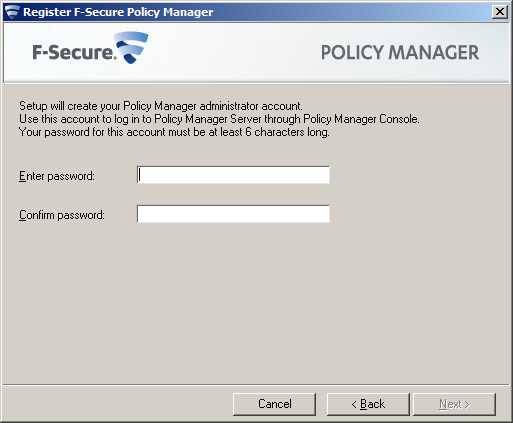 F-Secure Client Security Installing Policy Manager 15 Select Policy Manager Server if you want to install Policy Manager Console on a separate machine. 2.