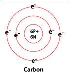 Bohr Diagrams: The Bohr Diagram is used to show the exact number of electrons for a particular atom of an element. The images below show Bohr Diagrams of Carbon.