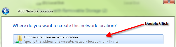 7. The Network Location wizard should appear.