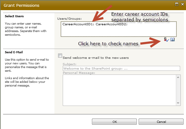 Within the group settings, click the New menu and select Add Users : [ continue to next page ] Enter Purdue Career Account IDs Enter career account IDs separated by a semicolon and then
