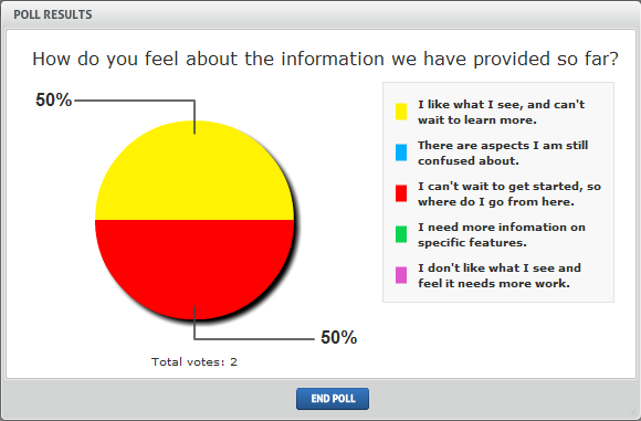 6. Create a poll for attendees Get feedback from your attendees by asking them to take part in a poll.