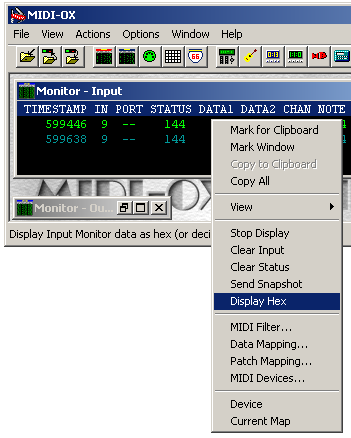 In HEX the STATUS, DATA1 and DATA2 will only ever be two digit numbers and will sometimes have letters with them A to F (like the C in 3C and the F in 7F in our first Monitor Input display).