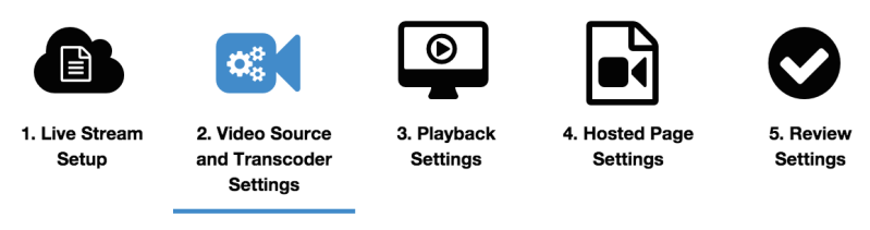4. Provide Video Source and Transcoder Settings.