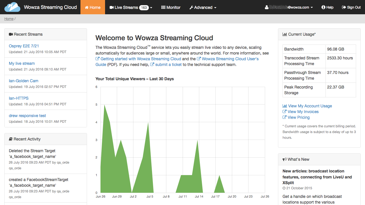 Welcome to Wowza Streaming Cloud.