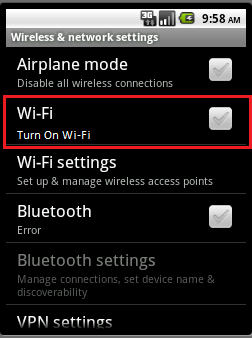 2. Android Phone Settings Enable Wi-Fi Go to settings tab, select Wireless and Networks and select Turn ON