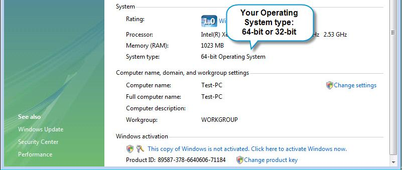 On Windows XP, the system type is shown for 64-bit systems only. If no system type is displayed, your Windows XP system type is 32- bit.