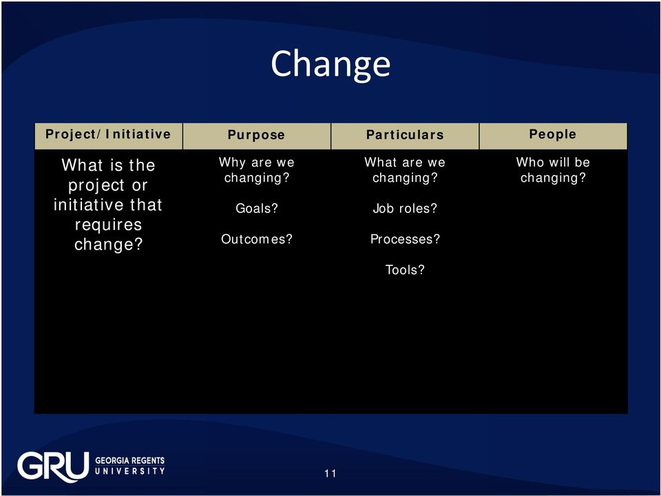 Why are we changing? Goals? Outcomes?