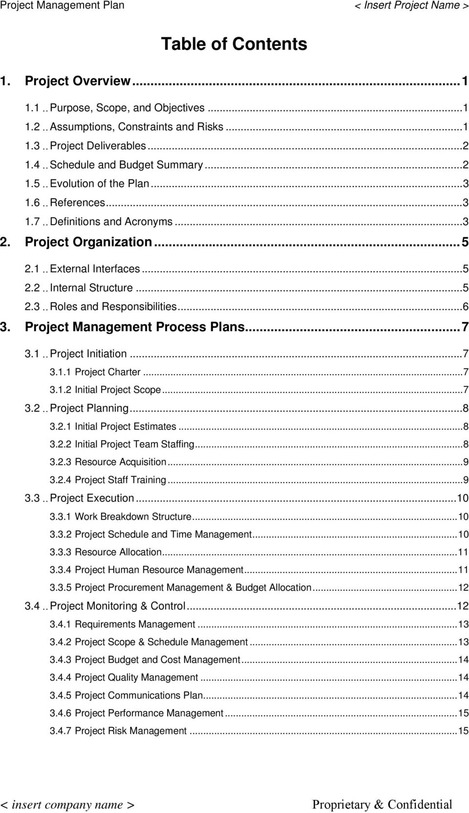 ..5 2.3..Roles and Responsibilities...6 3. Project Management Process Plans...7 3.1..Project Initiation...7 3.1.1 Project Charter...7 3.1.2 Initial Project Scope...7 3.2..Project Planning...8 3.2.1 Initial Project Estimates.