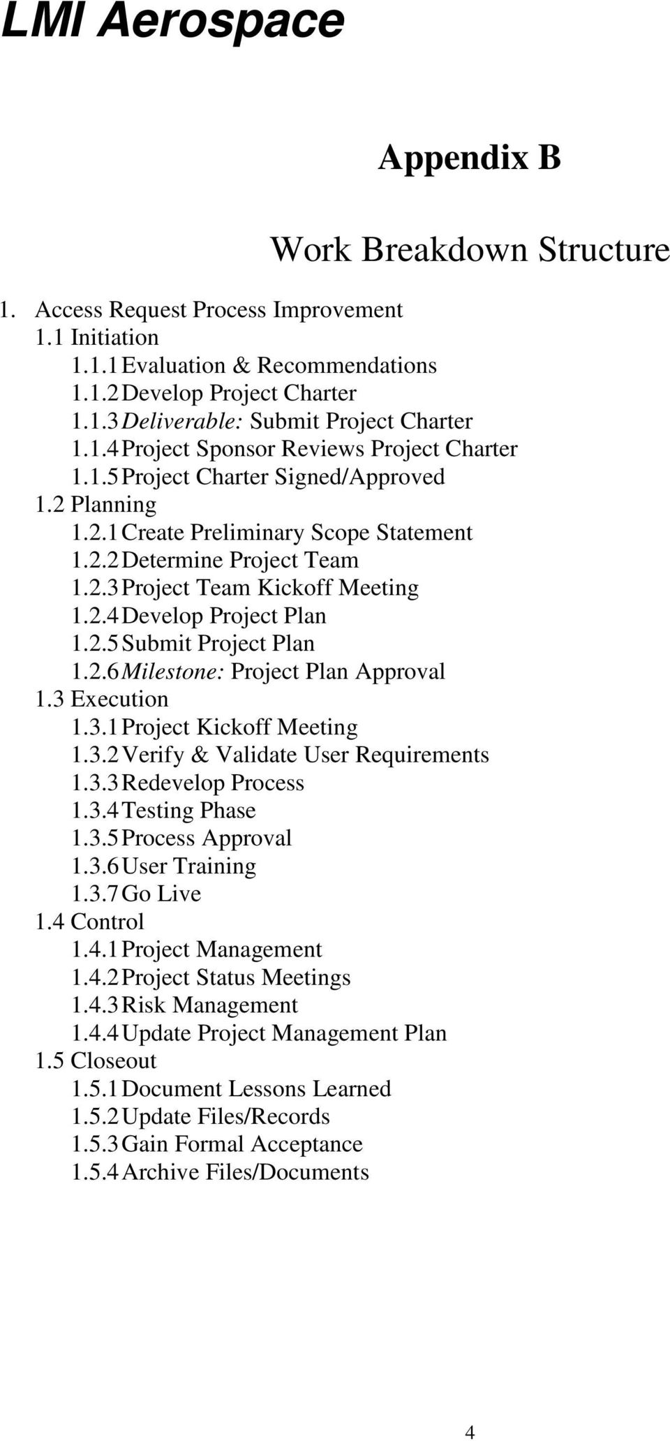 2.6 Milestone: Project Plan Approval 1.3 Execution 1.3.1 Project Kickoff Meeting 1.3.2 Verify & Validate User Requirements 1.3.3 Redevelop Process 1.3.4 Testing Phase 1.3.5 Process Approval 1.3.6 User Training 1.