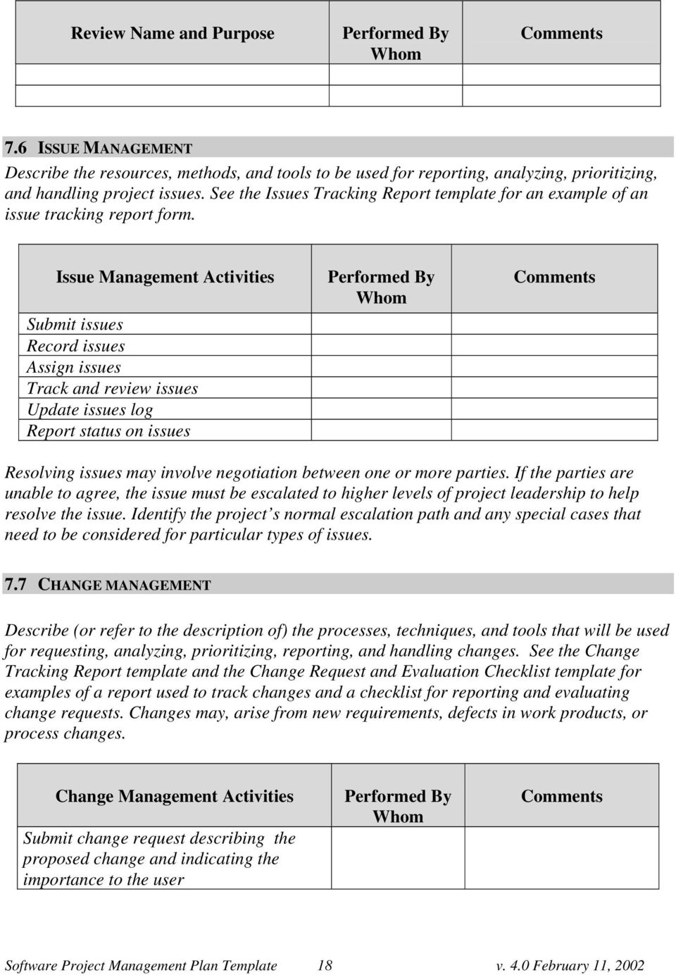Issue Management Activities Submit issues Record issues Assign issues Track and review issues Update issues log Report status on issues Performed By Resolving issues may involve negotiation between