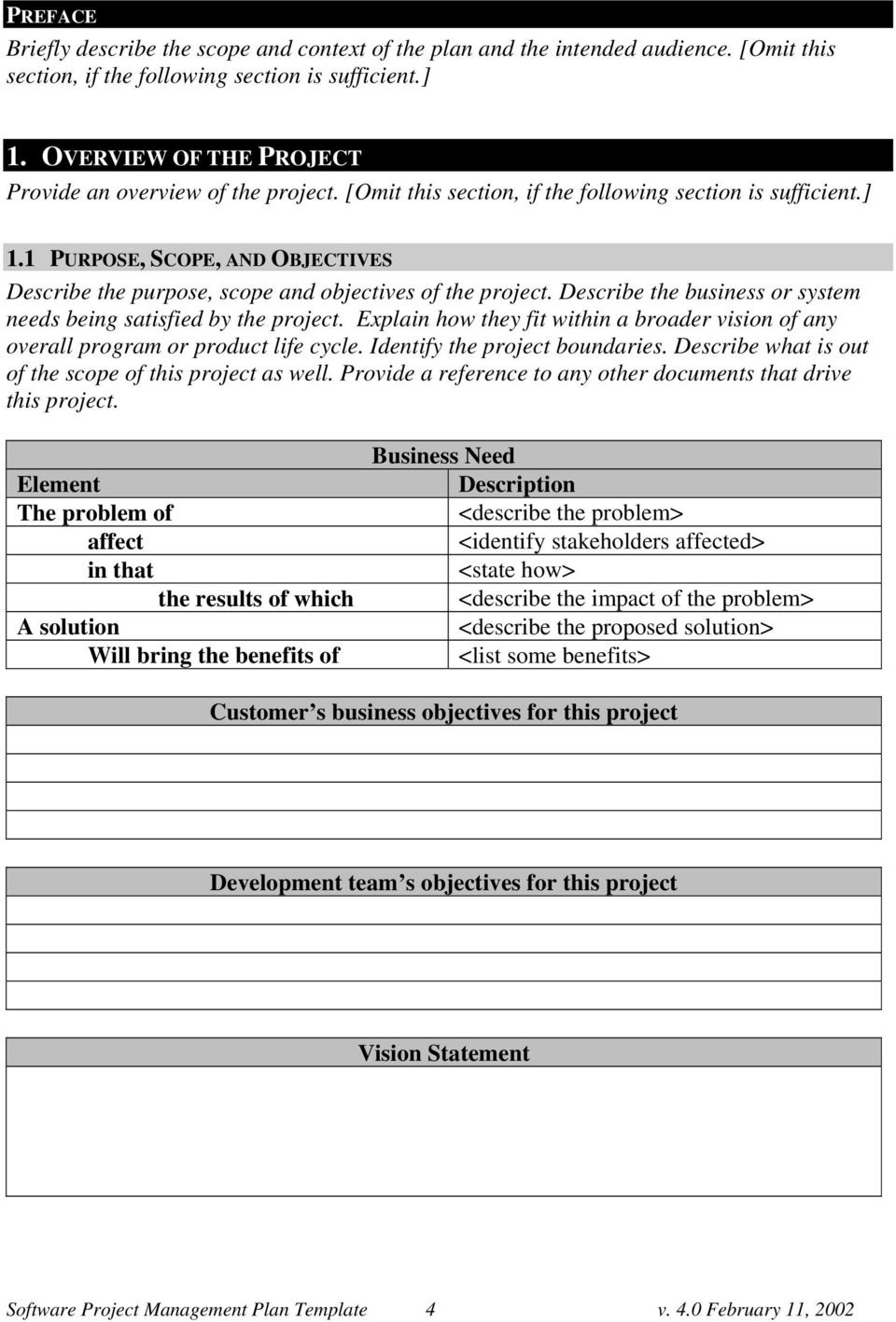 1 PURPOSE, SCOPE, AND OBJECTIVES Describe the purpose, scope and objectives of the project. Describe the business or system needs being satisfied by the project.