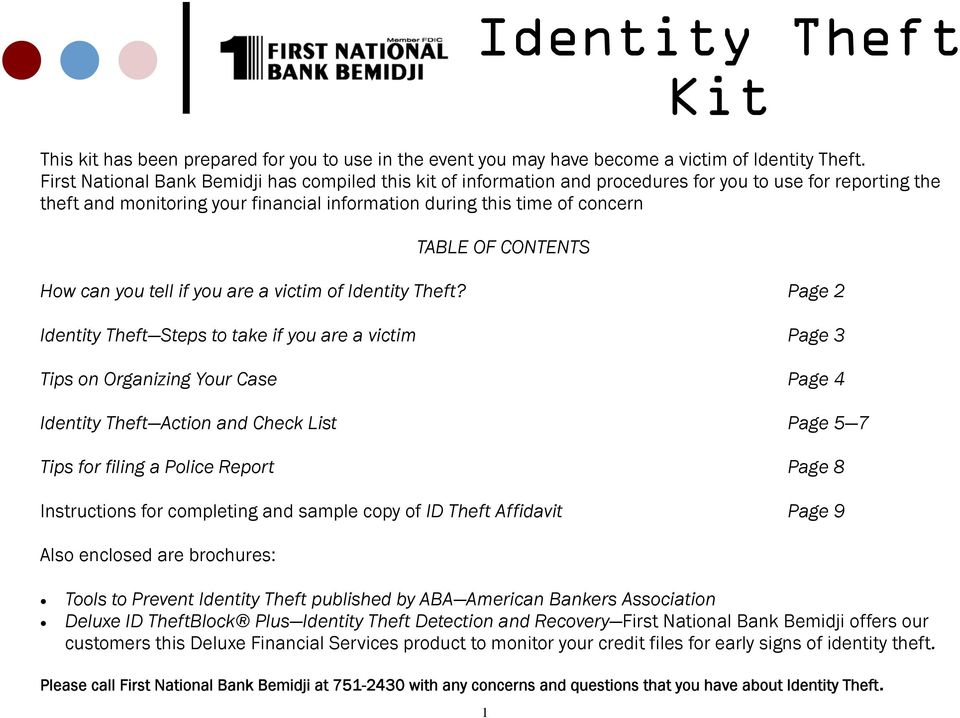 CONTENTS How can you tell if you are a victim of Identity Theft?