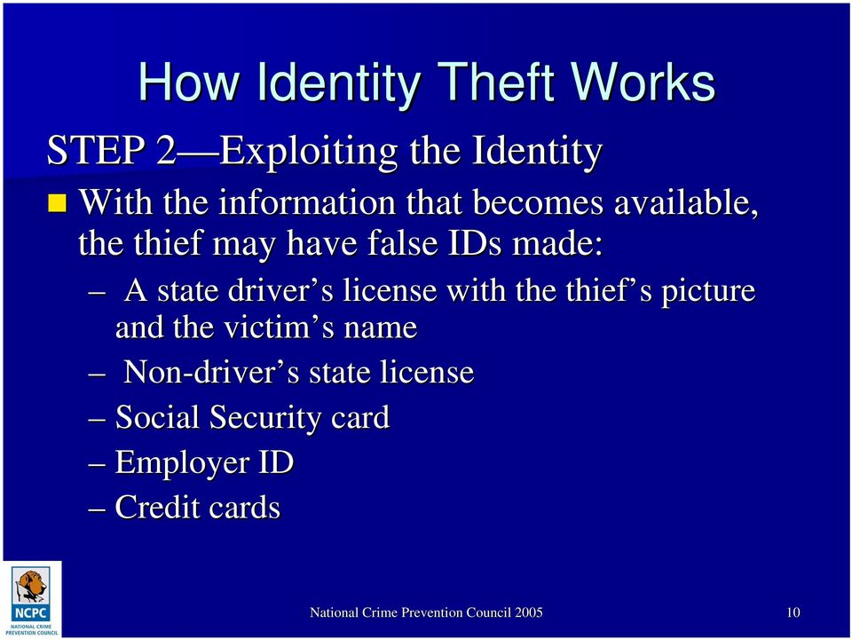 with the thief s s picture and the victim s s name Non-driver driver s s state