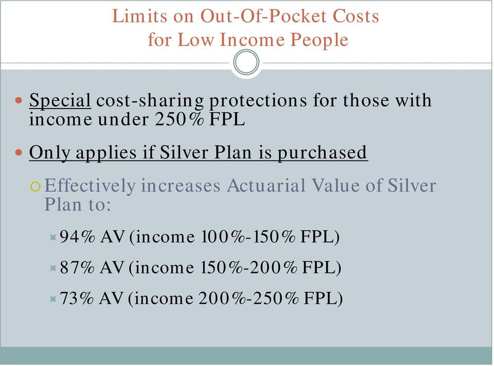 is purchased Effectively increases Actuarial Value of Silver Plan to: 94% AV